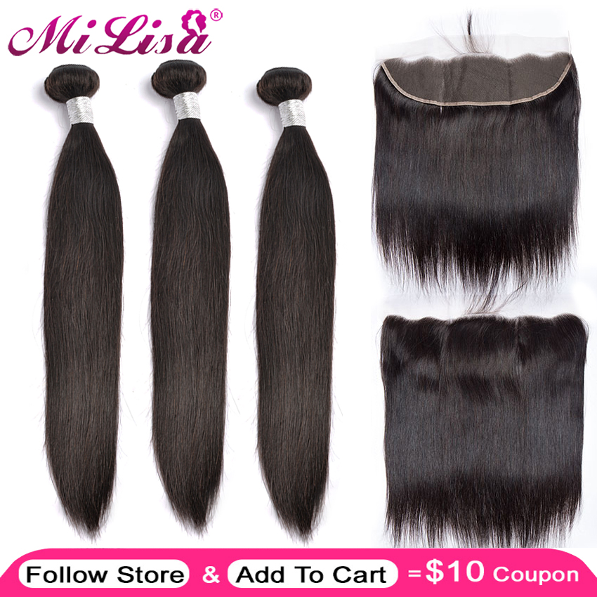 Mi Lisa 3 Bundle With Frontal Malaysian Straight Hair Weave Remy Human Hair Bundle And 13x 4 Lace Frontal Closure With Bundles