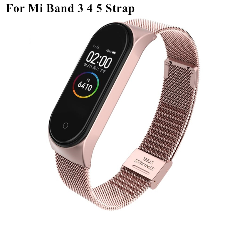 Strap For Xiaomi Mi Band 3 4 5 Wrist Metal Bracelet Screwless Stainless Steel MIband for Mi Band 4 3 5 Strap Wristbands Pulseira(China)