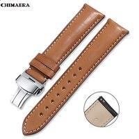 CHIMAERA Watch Band France Leather 16mm 18mm 19mm 20mm 22mm 24mm Leather Strap Men Women Bracelet Butterfly Deployment Buckle