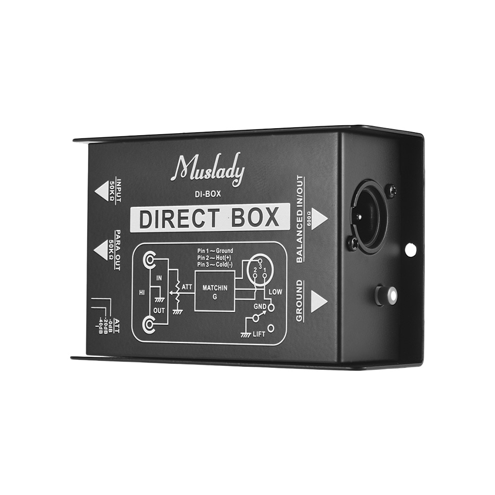 Muslady Single Channel Passive DI-Box Direct Injection Audio Box Balanced & Unbalance Signal Converter With XLR TRS Interfaces