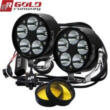 GOLDRUNWAY GR-50XL 50 Вт U3 светодиодный головной светильник для вождения мотоцикла, противотуманная лампа, светильник+ переключатель+ желтые линзы