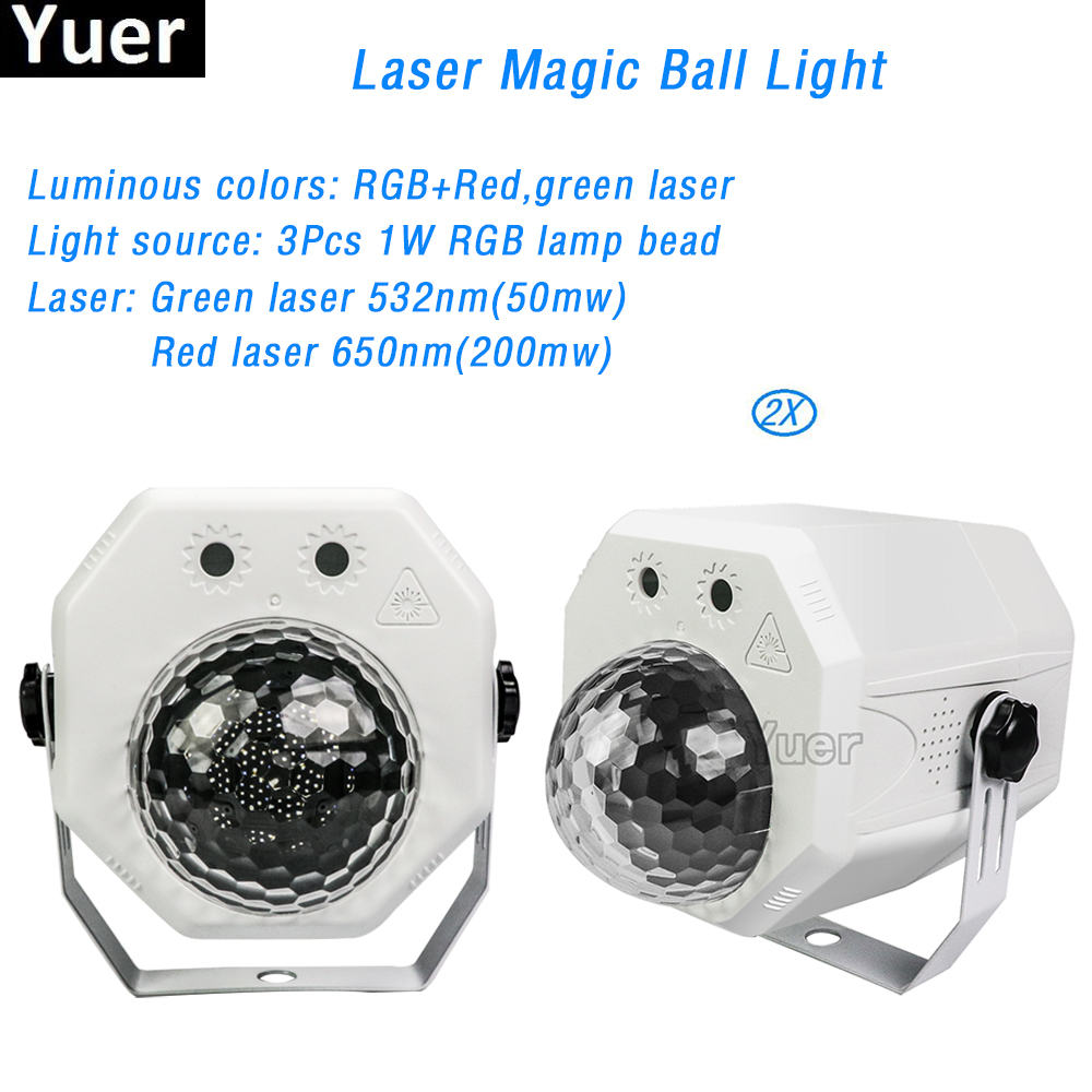 2Pcs/Lot RGB LED Crystal Laser Magic Ball Projector Laser Light Voice Control 10W 2IN1 For Disco Party DJ KTV Bar Lights Show