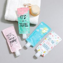 100ml 100ml Mini Travel Liquid Dispenser Bag Shampoo Storage Container Candy Color Letters Geometric Pattern Lotion Bottle Tool недорого
