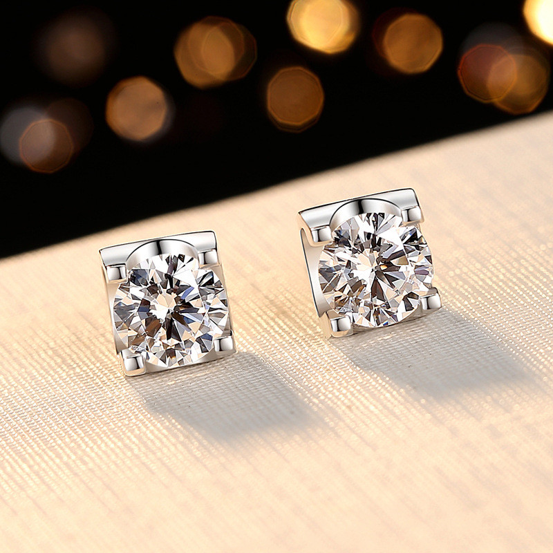 Minimalist Austrian Crystal Round Stud Earrings White Gold Yellow Gold Color Clear White Zircon Wedding Earrings For Women Studs