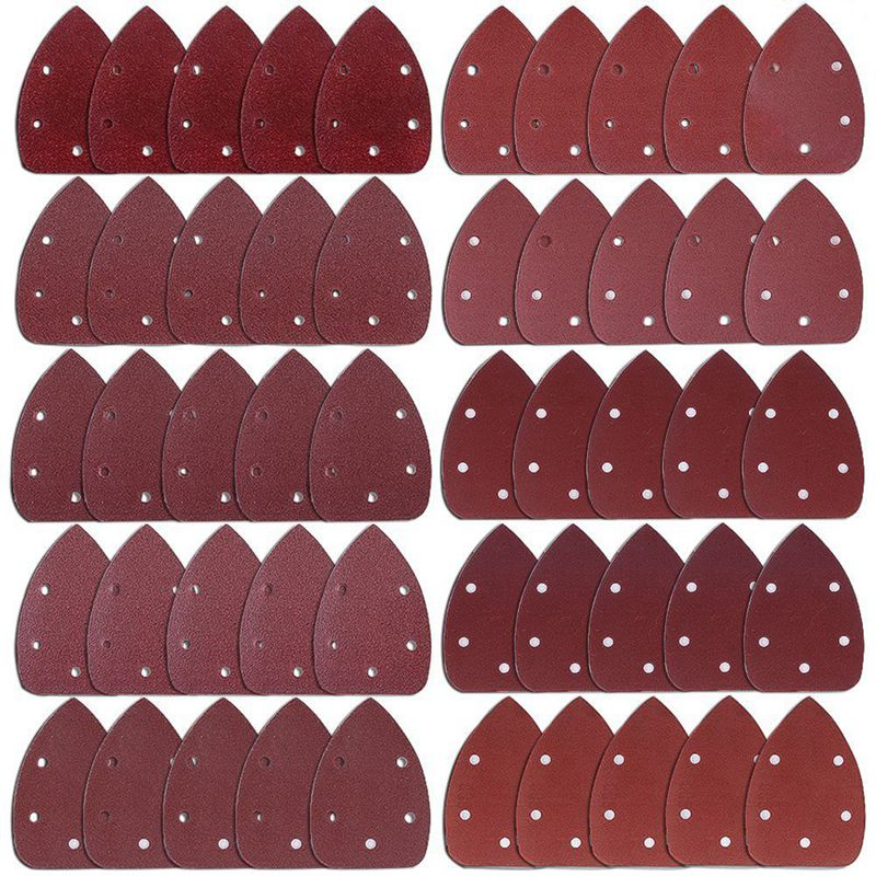 50 Pieces Mouse Detail Sander Sandpaper Sanding Paper Hook And Loop Assorted 40/ 60/ 80/ 100/ 120/ 180/ 240/ 320/ 400/ 800 Grits