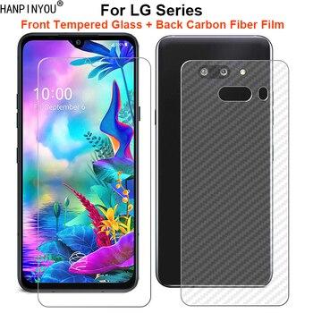 Перейти на Алиэкспресс и купить Для LG G8X V50S V50 V40 Q60 K50 K40 W30 W10 ThinQ 5G 1 комплект = мягкая задняя пленка из углеродного волокна + закаленное стекло для переднего экрана