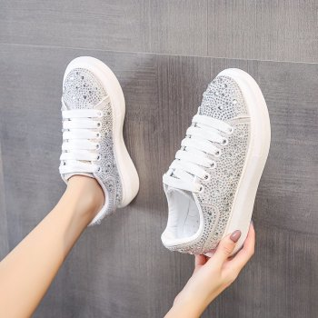 casual shoes for women flat shoes for women fisherman shoes for women canvas shoes for comfortable driving shoes footwear Mujer Classic Casual Flat Shoes Rhinestone Fashion Comfortable Soft Platform Walking Shoes For Women White Footwear