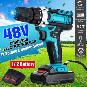 48V 25+3 Torque Dual Speed Cordless Electric Drill Screwdriver Mini Wireless Power Driver With 2Pcs DC Lithium-Ion Battery