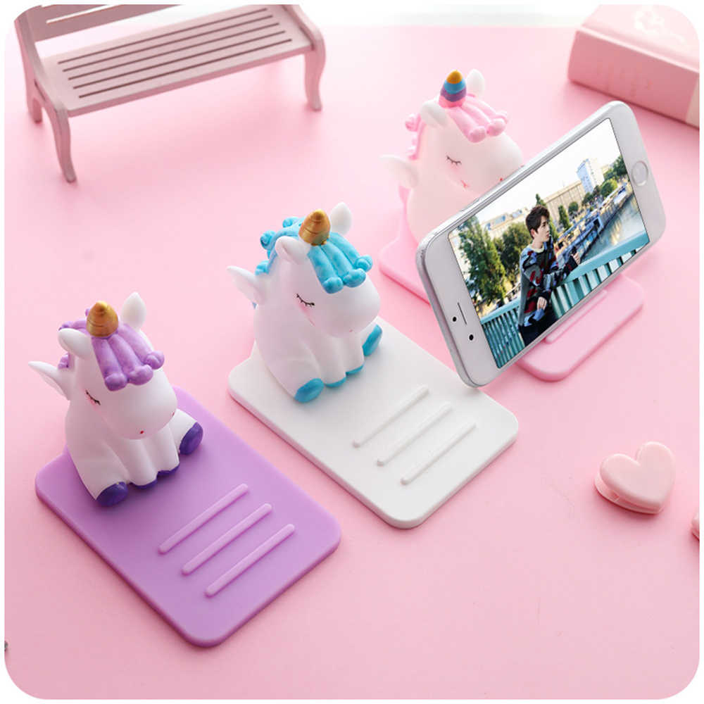 Cartoon for Unicorn Mobile Phone Bracket Base Mobile Phone Holder Stand Decoration Car Desktop Multi-function Adjustable Bracket