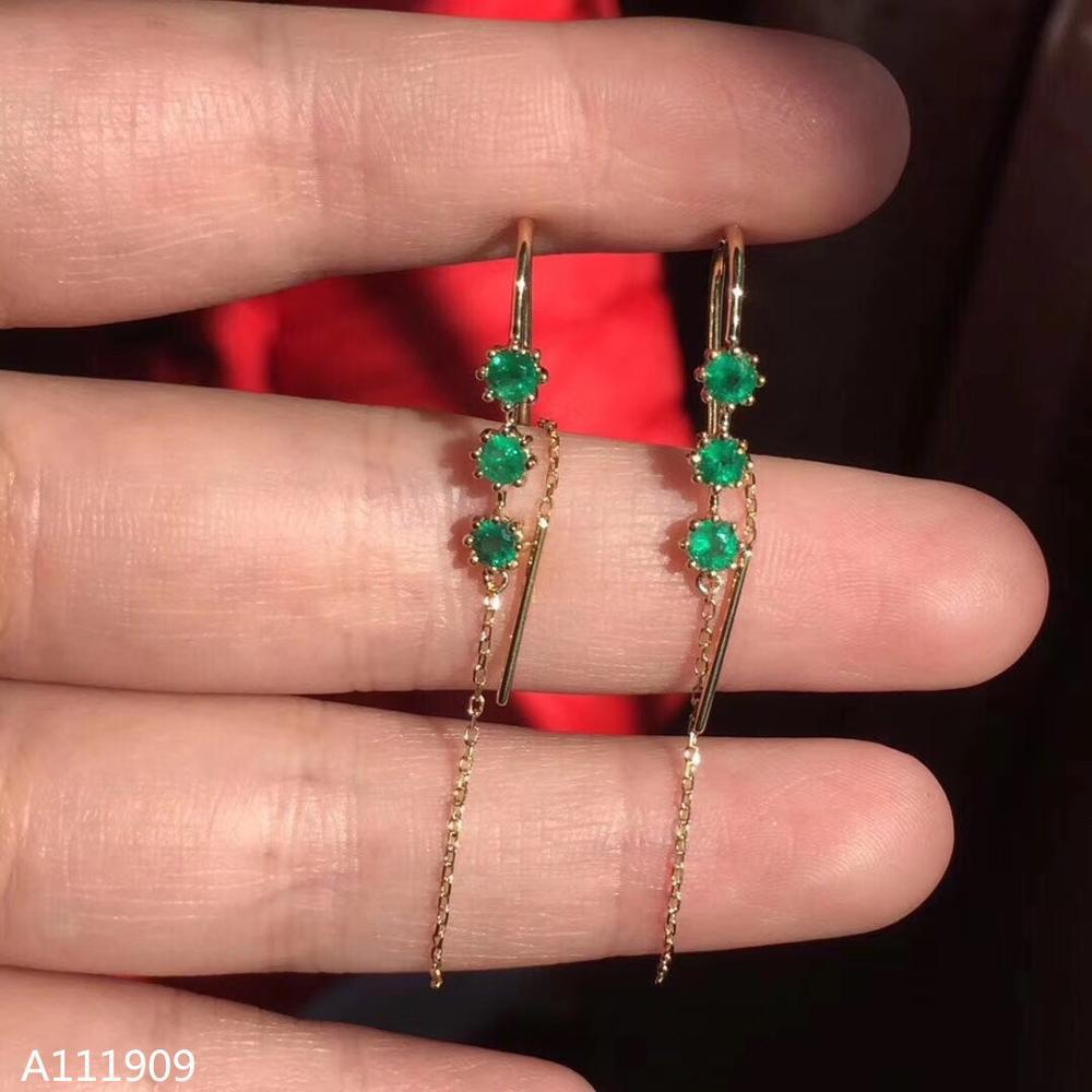 KJJEAXCMY boutique bijoux 925 argent sterling incrusté naturel émeraude femmes boucles d'oreilles oreille ligne soutien détection