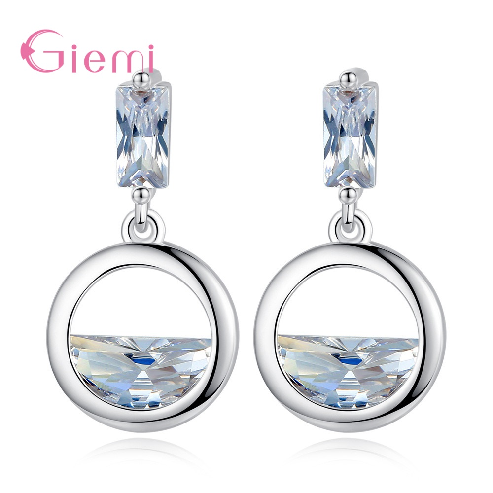Hot Sale Woman Drop Darrings 925 Sterling Silver Jewelry for Wedding Engagement Transparent Rhinestone Handmade Pendientes