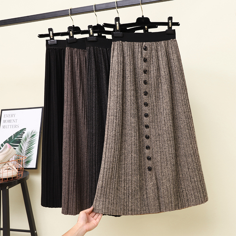 2018 Autumn And Winter New Style Korean-style Retro High-waisted Mid-length Single Breasted Elastic Waist Pleated Skirt