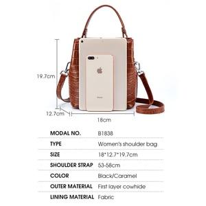 Image 4 - BISONJS Women Bucket Handbag Luxury Top Handle Leather Small Women Bag Fashion Female Messenger Crossbody Shoulder Bag B1838
