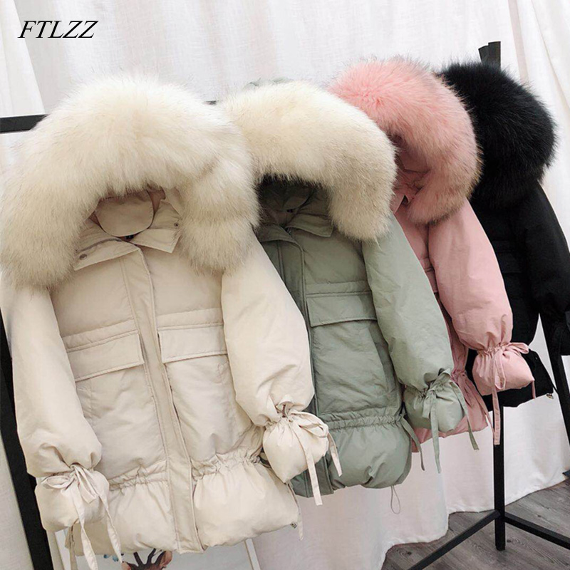 FTLZZ Women Winter White Duck   Down   Parkas Large Natural Raccoon Fur   Coat   Medium Long Slim Jackets Hooded Warm Pink Outwear