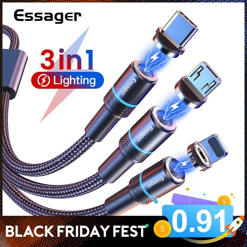 Essager magnético micro cabo usb para iphone samsung carregamento rápido cabo de fio de dados ímã carregador usb tipo c 3m cabo do telefone móvel|Cabos flexíveis de celular| - AliExpress