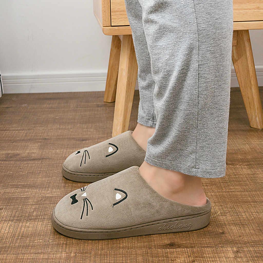 Cartoon Kat Flock Slippers Mannen antislip Vloer Warme Winter Slippers Man Pluizige Zapatos De Hombre Casual Thuis Indoor schoenen