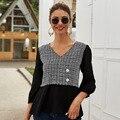 Nieuwe Collectie Wit Zwart Womens Blouses En Tops Office Lady V-hals Drie Kwart Mouw Zomer Plaid Shirt Vrouwen Blusas dama