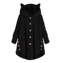 Wool Blend Fashion Women Button Cat Ear Coat Fluffy Turn-down Collar Outwear Jacket
