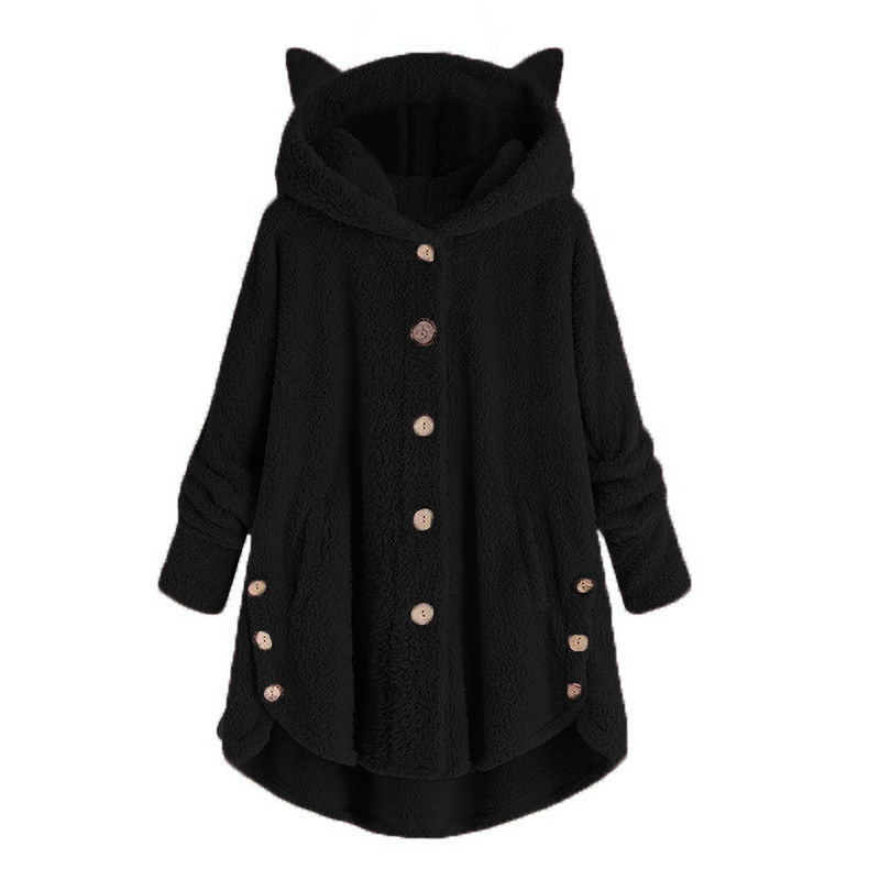 Wool Blend Fashion Women Button Cat Ear Coat Fluffy Turn-down Collar Outwear Jacket Casual Tops Hooded Pullover Loose Sweater#45