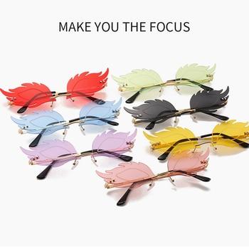 2020 New Luxury Fashion Flame Feather Sunglasses Ladies Frameless Retro Metal Mirror Glasses UV400