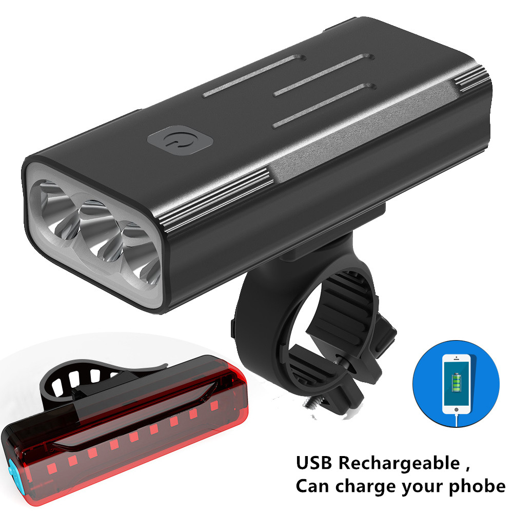 20000 Lumens Bicycle Light 3x T6 USB Rechargeable Bike Light Front Waterproof LED Headlight Cycling Rear Taillight Accessories
