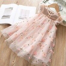 Весна-лето 2020, детская одежда, платье принцессы для маленьких девочек, кружевное платье для девочек с коротким рукавом и цветочной вышивкой