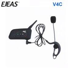 EJEAS V4C דופלקס מלא 1200M כדורגל שופט כדורגל Earhook Bluetooth אינטרקום מונו אוזניות אוזניות אוזניות עם FM