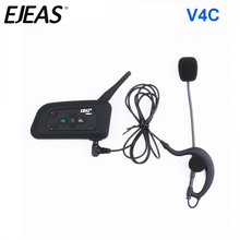 EJEAS auricular monoaural V4C completo y doble, 1200M, árbitro de fútbol, intercomunicador Bluetooth con FM