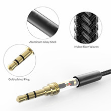 2 PCS 3.5mm Nylon Braided Aux Cable Audio Auxiliary Input Adapter Male to Male for Headphone, Car, Home Stereo, Speaker,Phone