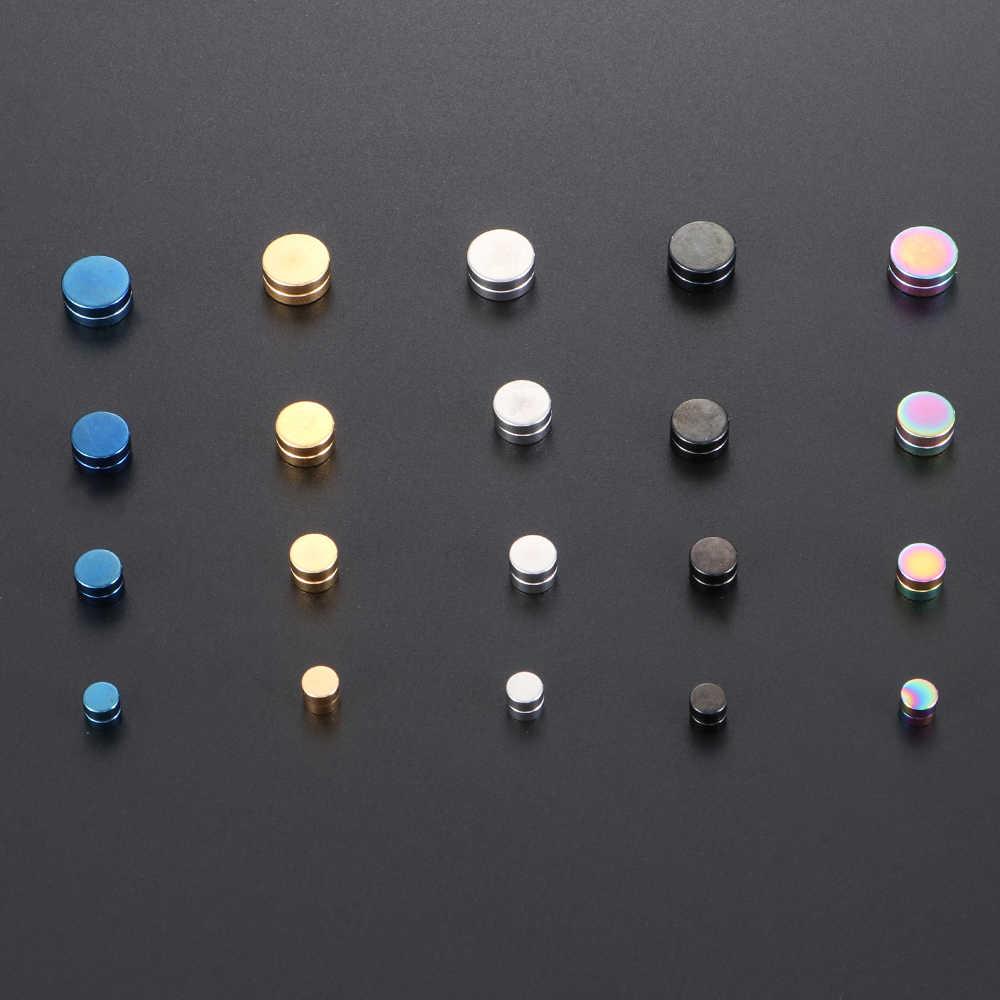 1 pc novo na moda unissex magnético falso brinco studs sem piercing cristal forma redonda mulheres dos homens estimulando acupontos 6/8/10/12mm