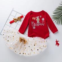 My First Christmas Baby Kids Girls Tutu Dress