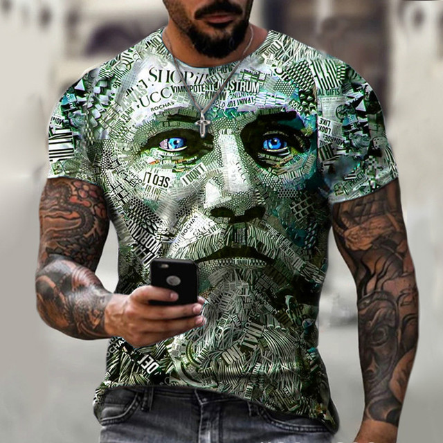 New style hot sale in 2021, 3D men's T-shirt, gentleman style design, short sleeves, summer fashion 4