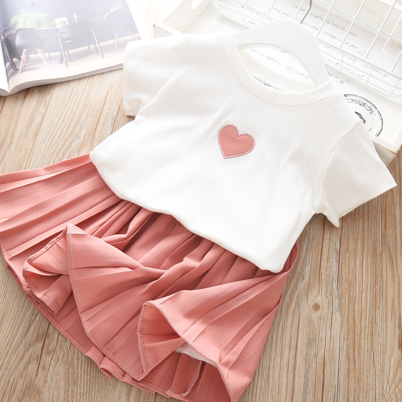 Hf5dc292af36d4182ac4a45c3ba43a909N Humor Bear Girls Clothing Set 2020 Korean Summer New Ice Cream Bow T-shirt+Pants Kids Suit Toddler Baby Children's Clothes