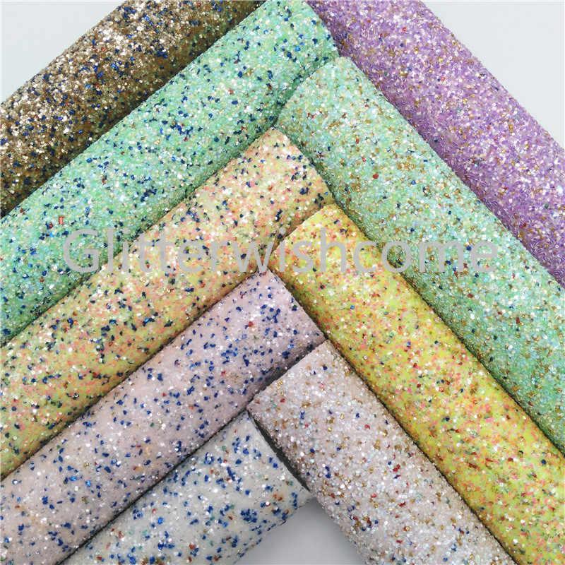 Glitterwishcome 30X134CM Mini Rotolo di Tessuto Glitter, Chunky Glitter In Pelle, faux DELL'UNITÀ di ELABORAZIONE del tessuto di Cuoio Del Vinile per Archi, GM409