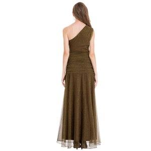 Image 2 - エンジェルファッションワンショルダープリーツシャーリングスパンコールスリットロングイブニングドレス 350 429