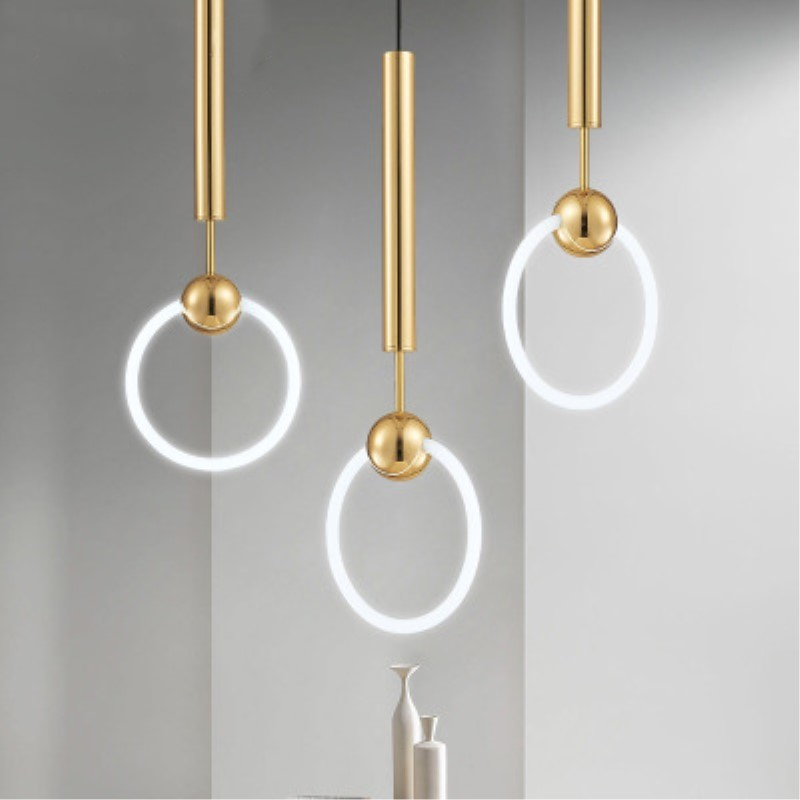Nordic Art LED Loop Light Creative Concise Style Dining Room Pendant Lamp Gold Ring Cafe Restaurant Decoration Lamp