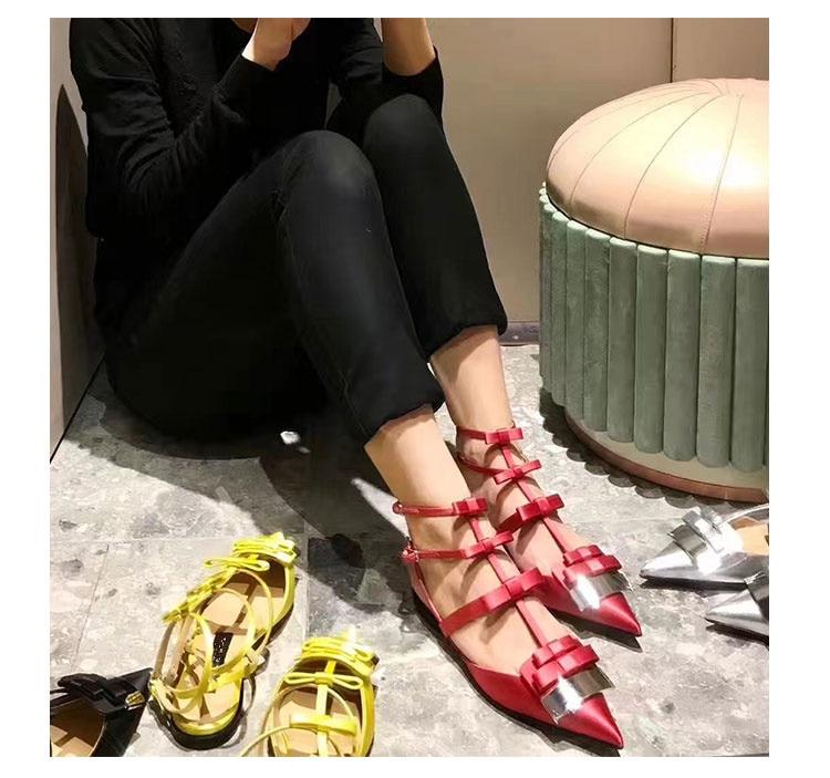 2019 Satijn Vrouwen Schoenen Puntschoen Vrouwen Flats Silver Metal Decor Vrouw Gladiator Kleur Jurk Bruiloft Zapatos Mujer Hot Muilezels - 3
