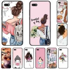 Princess Girl Female boss coffee TPU black Phone Case Cover Hull For Huawei Honor 7C 7A 8X 8A 9 10 10i Lite 20 NOVA 3i 3e for huawei honor mate 7c 7a 8 8x 9 9n 10 20 nova 3 3e 3i pro lite black silicon phone case adventure time style