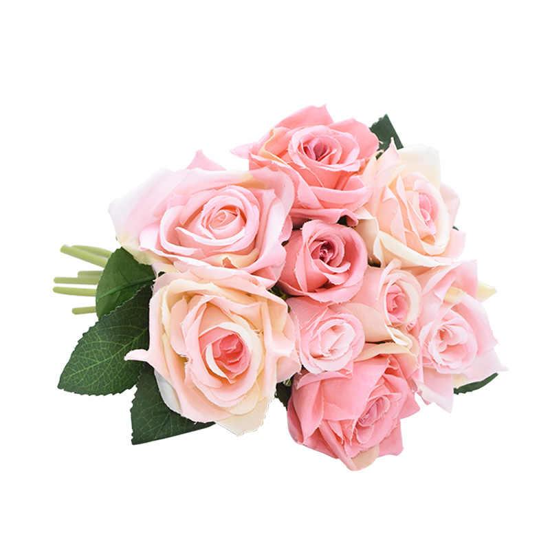 1 זר מלאכותי רוז פרח כלה זר כלה חתונה פרחים לחתונה עיצוב הבית ספקי צד פלורס