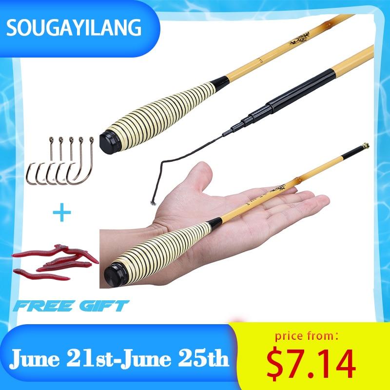 Sougayilang 1.8m 2.1m Winter Shrimp Fishing Rod High Quality Telescopic Carbon Fishing Rod Hand Pole for Carp Fishing Freshwater
