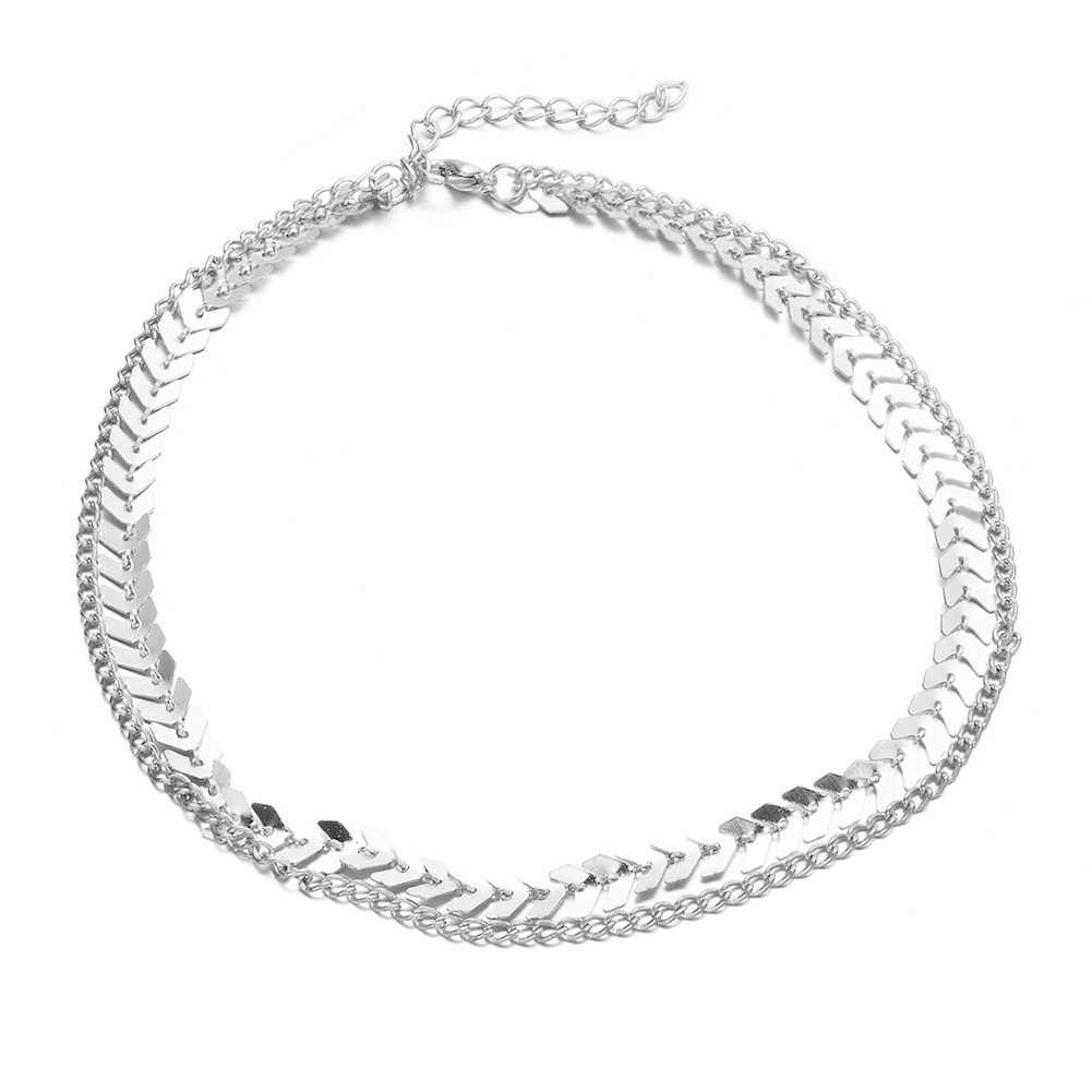 אופנה קולר 2019 דגי עצם עצם הבריח שרשרת שרשרת יוקרה צווארון Chocker שמנמן שרשראות Boho גותי תכשיטים
