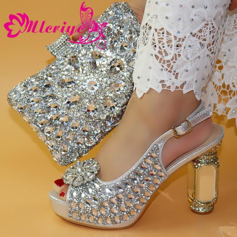 Italiaanse Schoenen Met Bijpassende Tas Voor Party Met Stenen Bruiloft Schoenen En Tas Set Hoge Kwaliteit Vrouwen Pompen roze kleur PU leer - 3