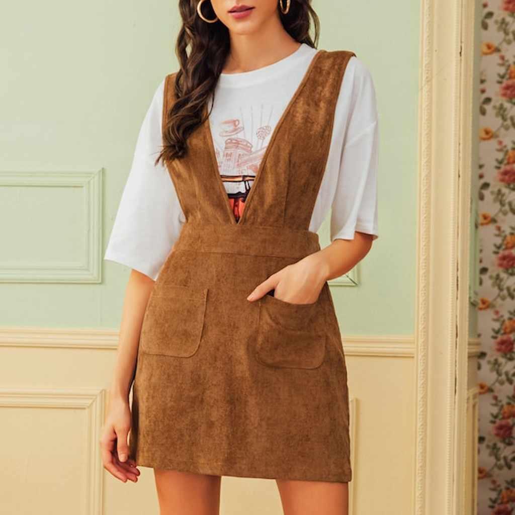 Wanita Tali Dress V-Leher Fashion Korduroi Tanpa Lengan Gaun Mini Fashion Gothic Gaya Slim Gaun Elegan Jubah Vestidos #2335