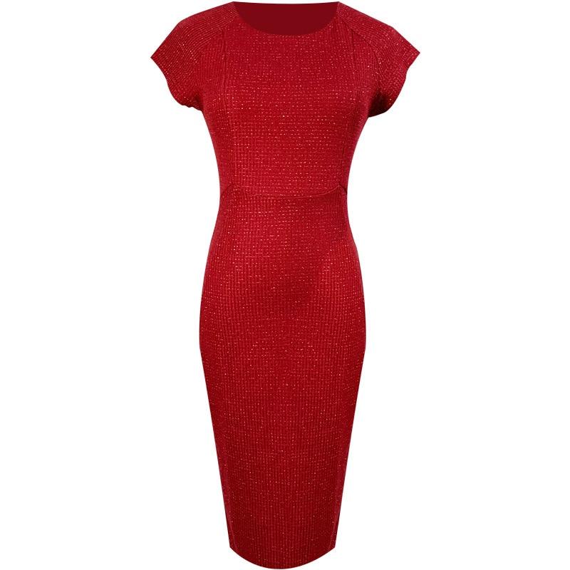 Spring Sexy Party Bodycon Office Sheath Dresses High-end Women O Neck Short Sleeve Elegant  brand 2020 Dress Vintage chic Dress 5