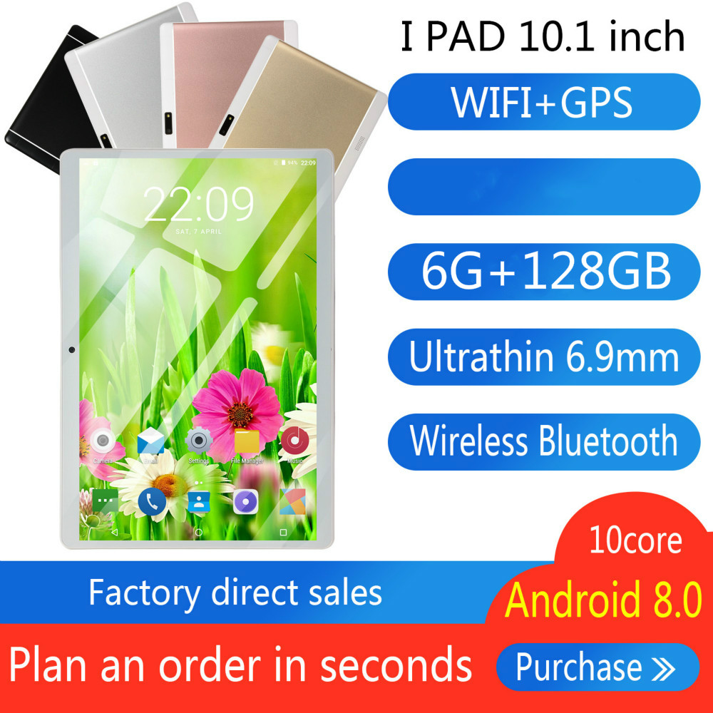 Hot Sale10.1 INCH Tablet Android 8.0 10 Core 6GB + 128GB ROM Dual Camera 5MP SIM Tablet PC Wifi Mirco Usb GPS 4G Bluetooth Phone
