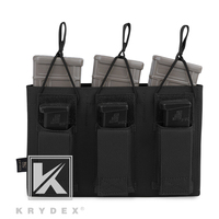 KRYDEX Triple Open Top 5.56 & Pistol Magazine Pouch Tactical MOLLE/PALS Holster Mag Carrier For Shooting Airsoft Military Black