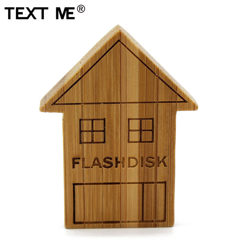 TEXT ME Creative Carbonized Bamboo House 64GB Usb Flash Drive Pen Drive 4GB 8GB 16GB 32GB Usb2.0 Pendrive