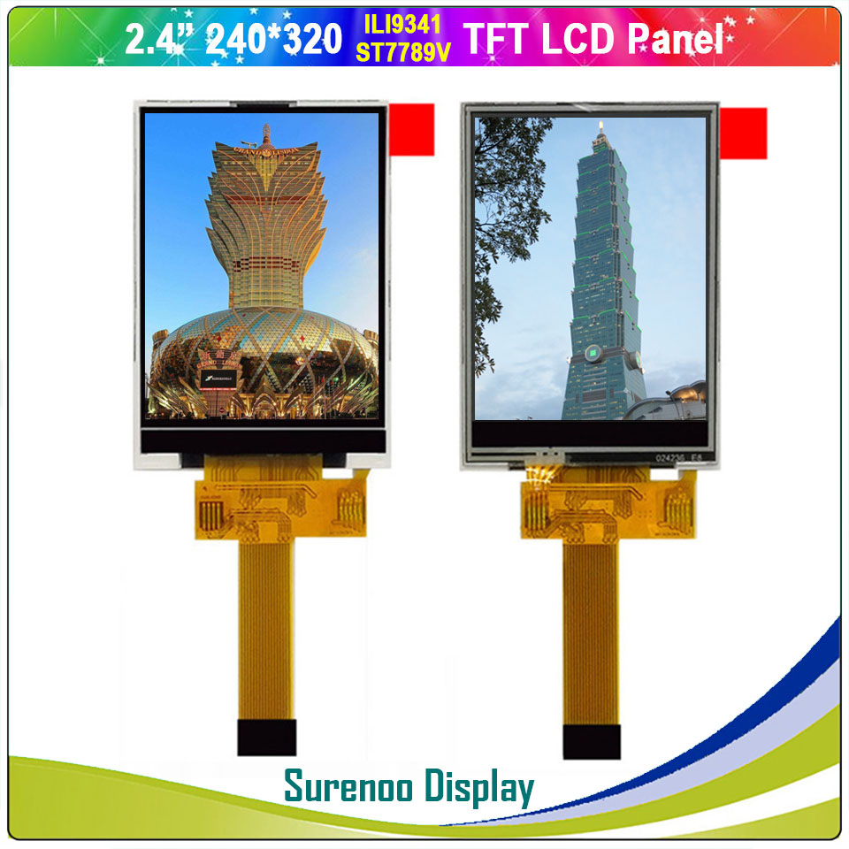 """2.4"""" Inch 240*320 18P/0.5 Insert Serial SPI TFT LCD Module Display Screen LCM Build-in ILI9341 ST7789V W/ Resistive Touch Panel"""