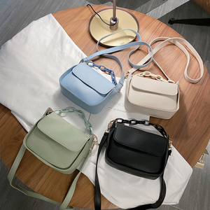 Solid Color Small PU Leather Crossbody Bags For Women 2020 Summer Acrylic Chain Designer Lady Travel Shoulder Messenger Handbags