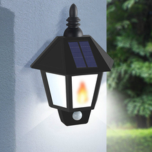 Outdoor Waterproof  New Solar Wall Lamp Solar Body Sensor Light  Led Flame Lamp Solar Lights for Garden Decoration Hexagon Retro